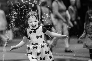 Happyness,Child,black and white, fun,water,fountain